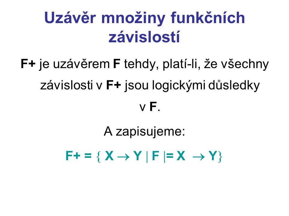 Uzávěr množiny funkčních závislostí F+ je uzávěrem F tehdy, platí-li, že všechny závislosti v F+ jsou logickými důsledky v F. A zapisujeme: F+ =  X 
