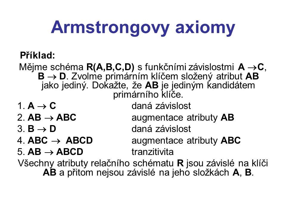 Armstrongovy axiomy Příklad: Mějme schéma R(A,B,C,D) s funkčními závislostmi A  C, B  D. Zvolme primárním klíčem složený atribut AB jako jediný. Dok