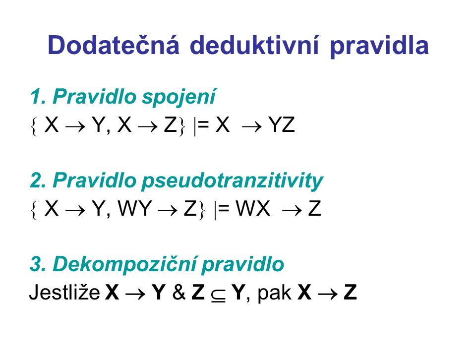 Dodatečná deduktivní pravidla 1. Pravidlo spojení  X  Y, X  Z   = X  YZ 2. Pravidlo pseudotranzitivity  X  Y, WY  Z   = WX  Z 3. Dekompozi