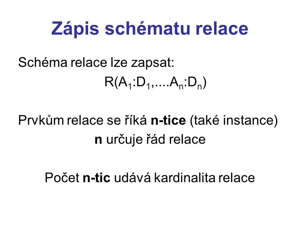 Zápis schématu relace Schéma relace lze zapsat: R(A 1 :D 1,....A n :D n ) Prvkům relace se říká n-tice (také instance) n určuje řád relace Počet n-tic