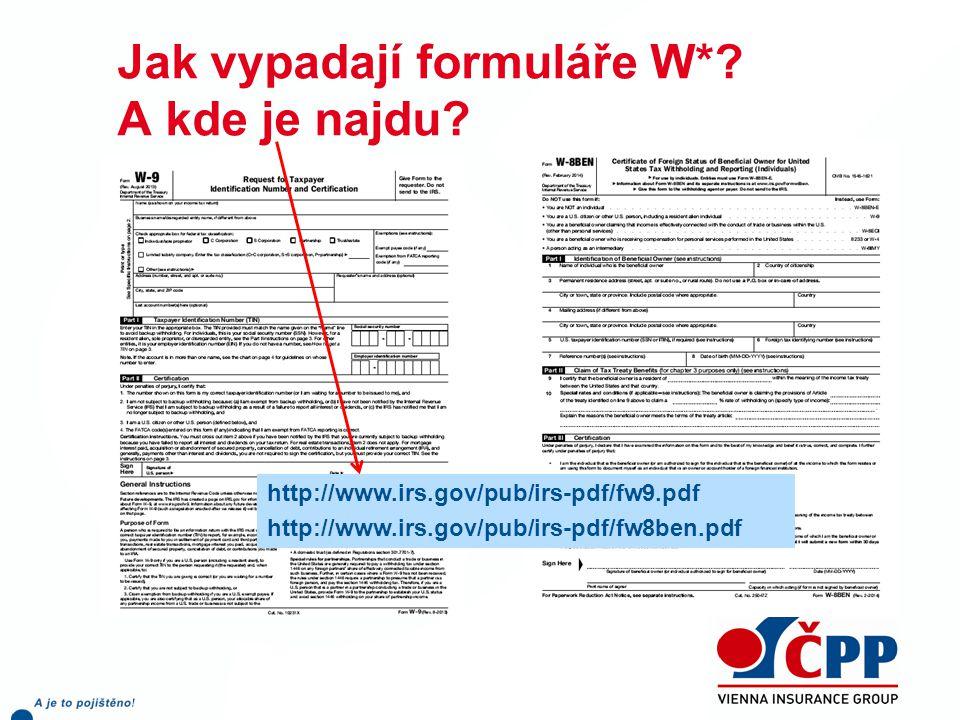 Jak vypadají formuláře W*.A kde je najdu.