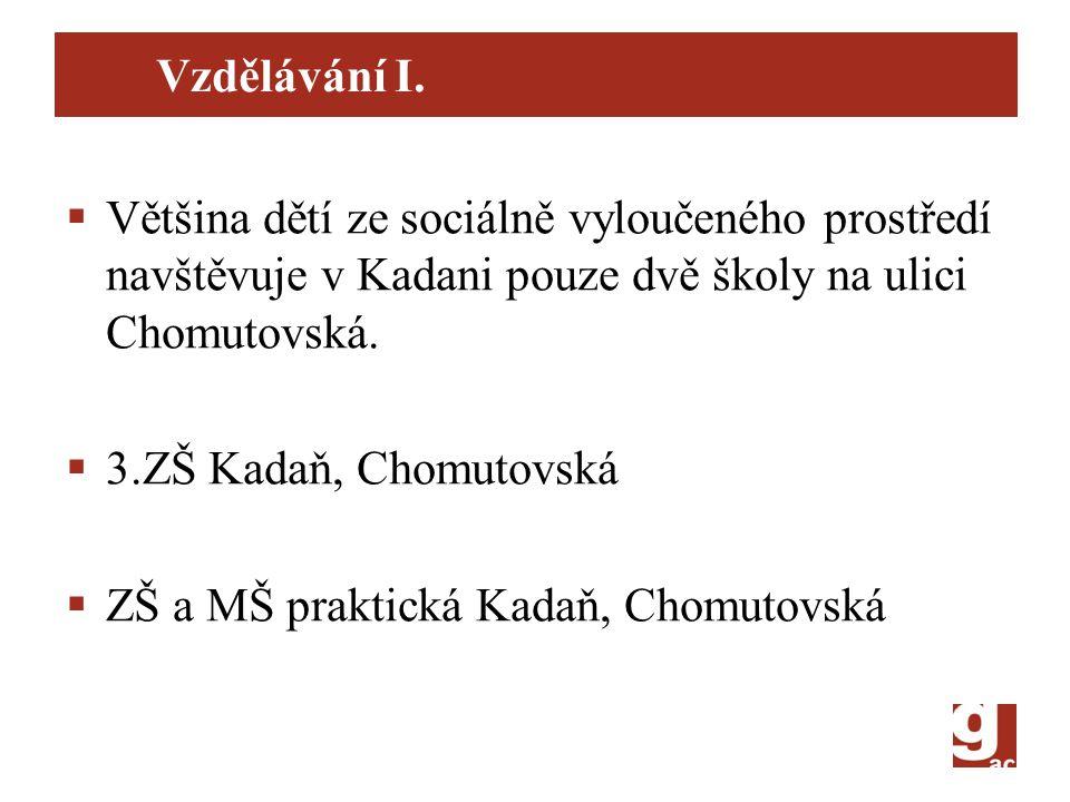 Vzdělávání I.  Většina dětí ze sociálně vyloučeného prostředí navštěvuje v Kadani pouze dvě školy na ulici Chomutovská.  3.ZŠ Kadaň, Chomutovská  Z