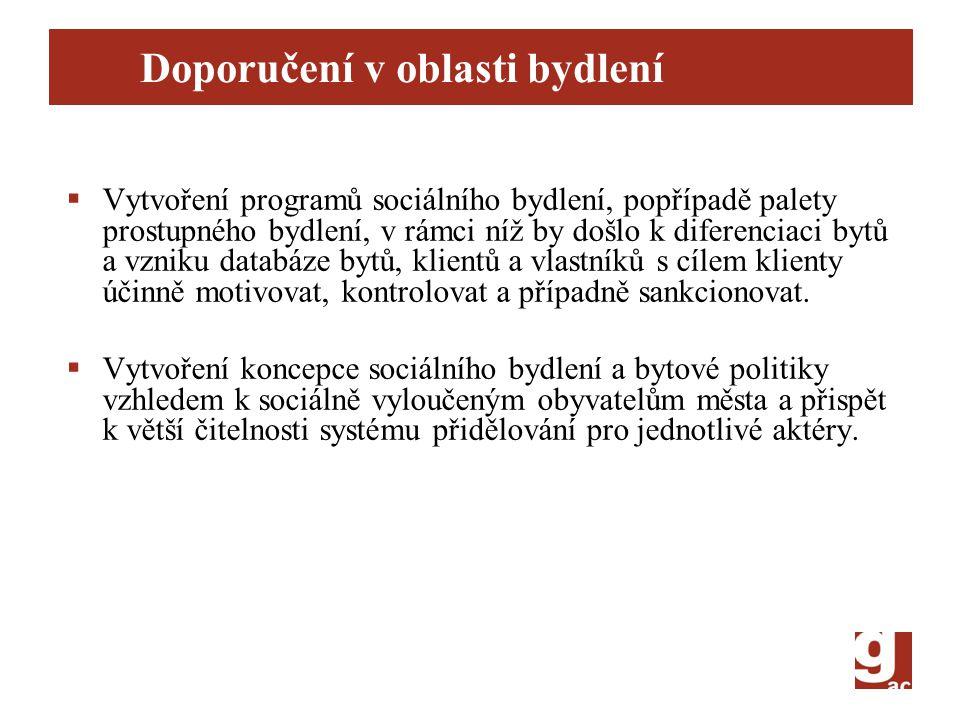 Doporučení v oblasti bydlení  Vytvoření programů sociálního bydlení, popřípadě palety prostupného bydlení, v rámci níž by došlo k diferenciaci bytů a