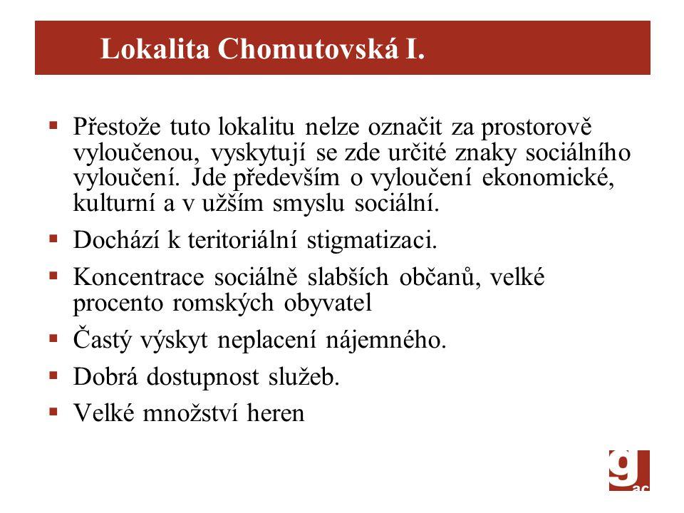 Lokalita Chomutovská I.  Přestože tuto lokalitu nelze označit za prostorově vyloučenou, vyskytují se zde určité znaky sociálního vyloučení. Jde přede