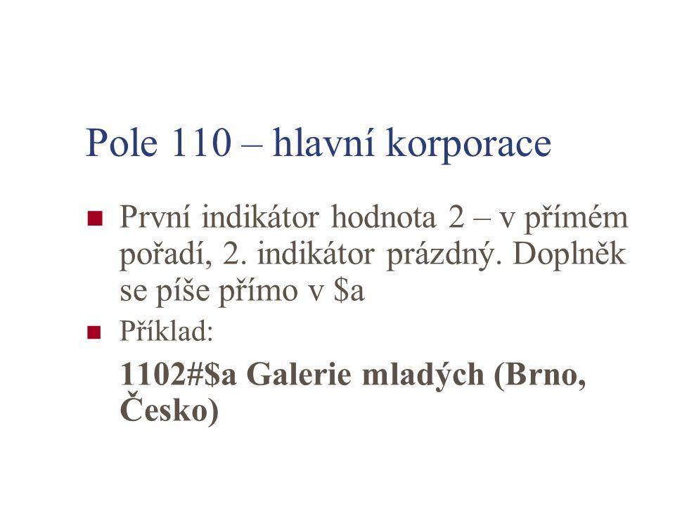 Pole 110 – hlavní korporace První indikátor hodnota 2 – v přímém pořadí, 2.