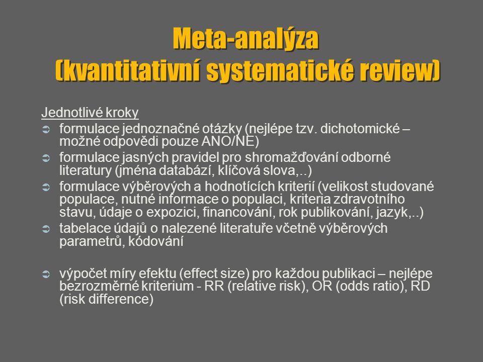 Meta-analýza (kvantitativní systematické review) Jednotlivé kroky  formulace jednoznačné otázky (nejlépe tzv. dichotomické – možné odpovědi pouze ANO