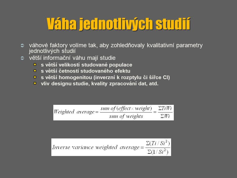 Váha jednotlivých studií  váhové faktory volíme tak, aby zohledňovaly kvalitativní parametry jednotlivých studií  větší informační váhu mají studie