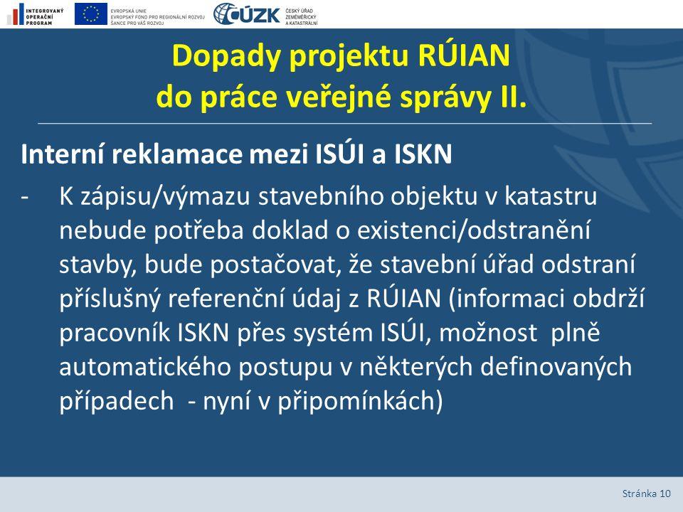 Dopady projektu RÚIAN do práce veřejné správy II. Interní reklamace mezi ISÚI a ISKN -K zápisu/výmazu stavebního objektu v katastru nebude potřeba dok