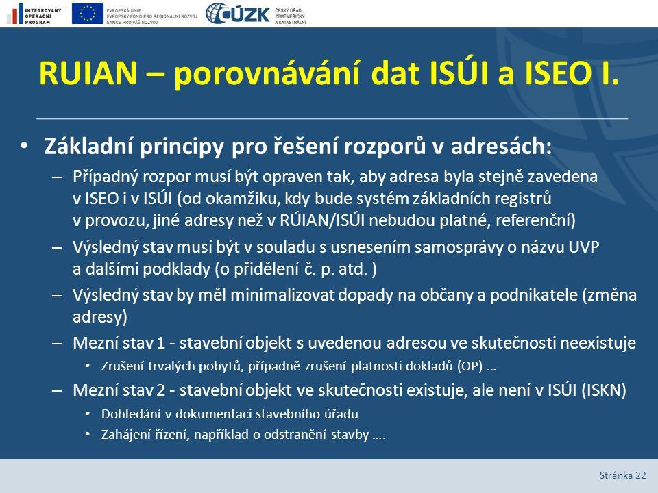 RUIAN – porovnávání dat ISÚI a ISEO I. Základní principy pro řešení rozporů v adresách: – Případný rozpor musí být opraven tak, aby adresa byla stejně