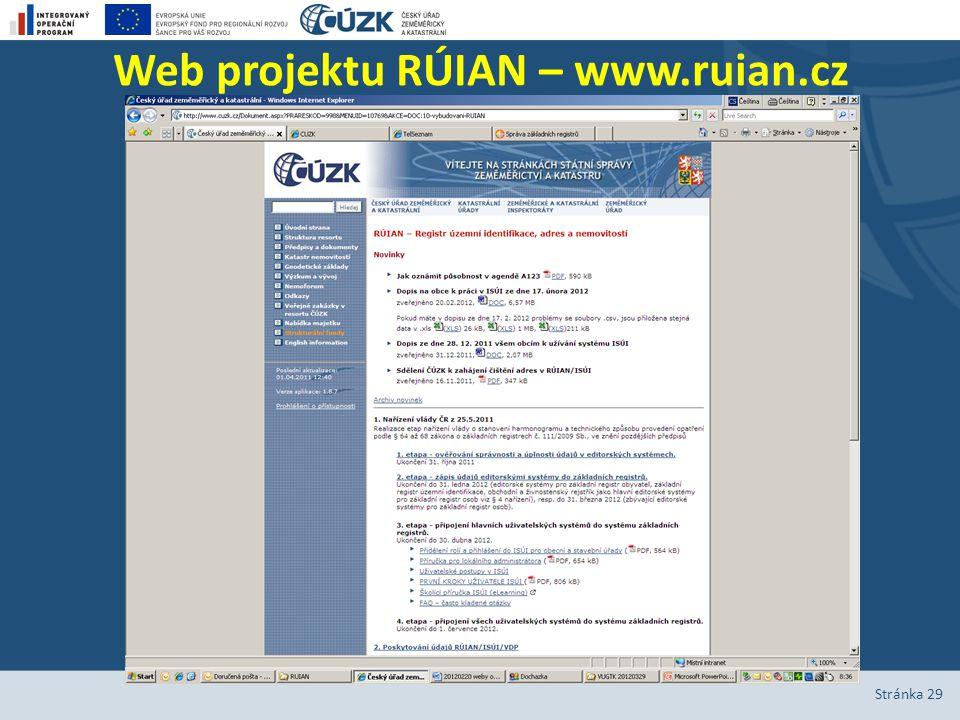 Web projektu RÚIAN – www.ruian.cz Stránka 29