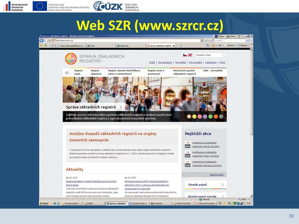 Web SZR (www.szrcr.cz) 30