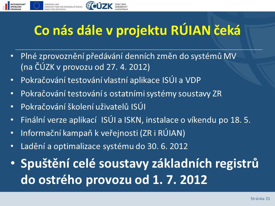 Co nás dále v projektu RÚIAN čeká Plné zprovoznění předávání denních změn do systémů MV (na ČÚZK v provozu od 27.