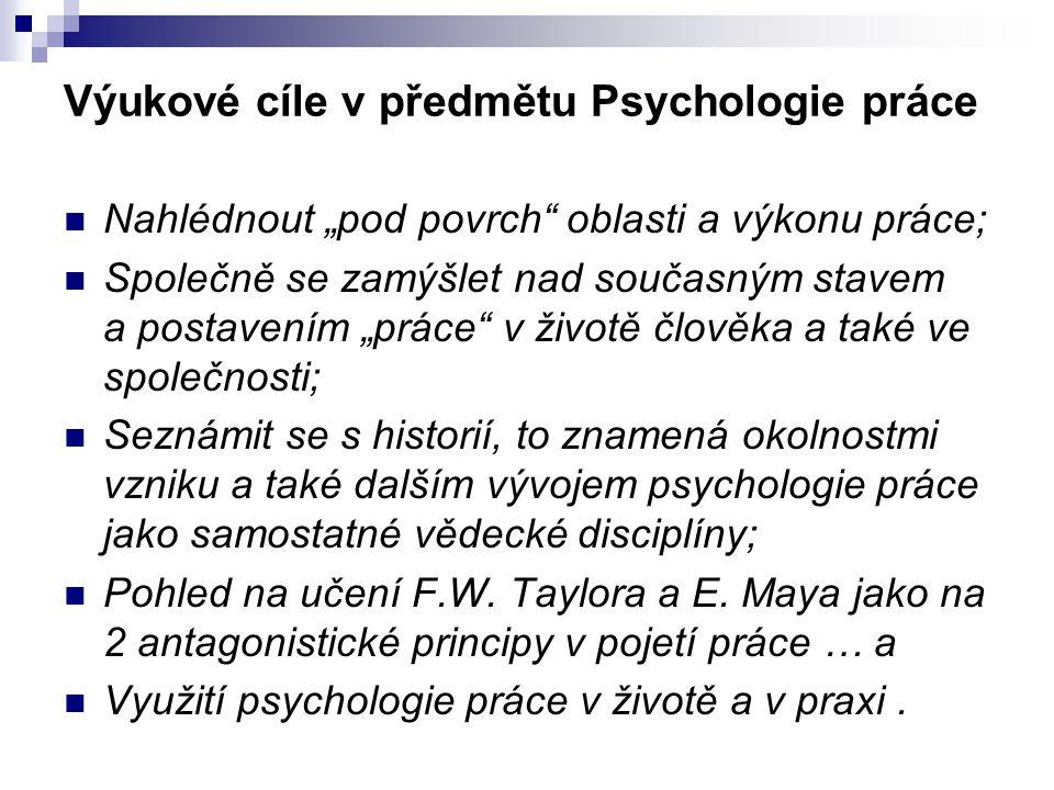 """Výukové cíle v předmětu Psychologie práce Nahlédnout """"pod povrch"""" oblasti a výkonu práce; Společně se zamýšlet nad současným stavem a postavením """"prác"""