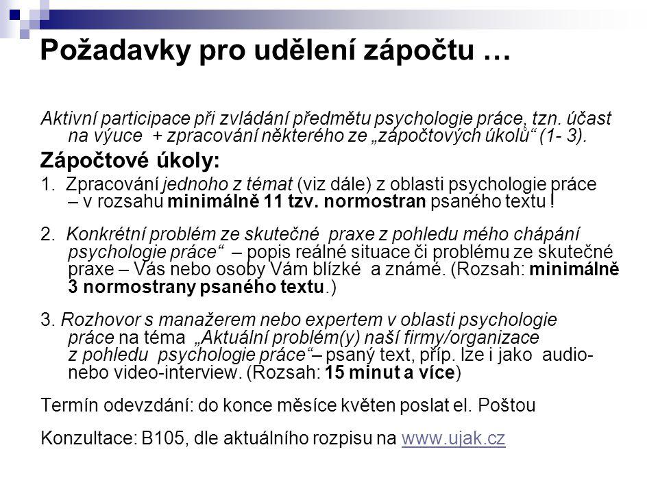 """Požadavky pro udělení zápočtu … Aktivní participace při zvládání předmětu psychologie práce, tzn. účast na výuce + zpracování některého ze """"zápočtovýc"""