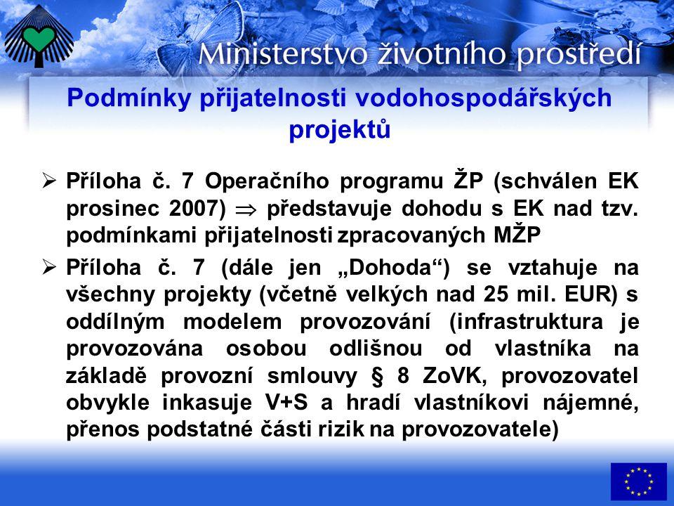 Podmínky přijatelnosti vodohospodářských projektů  Příloha č.
