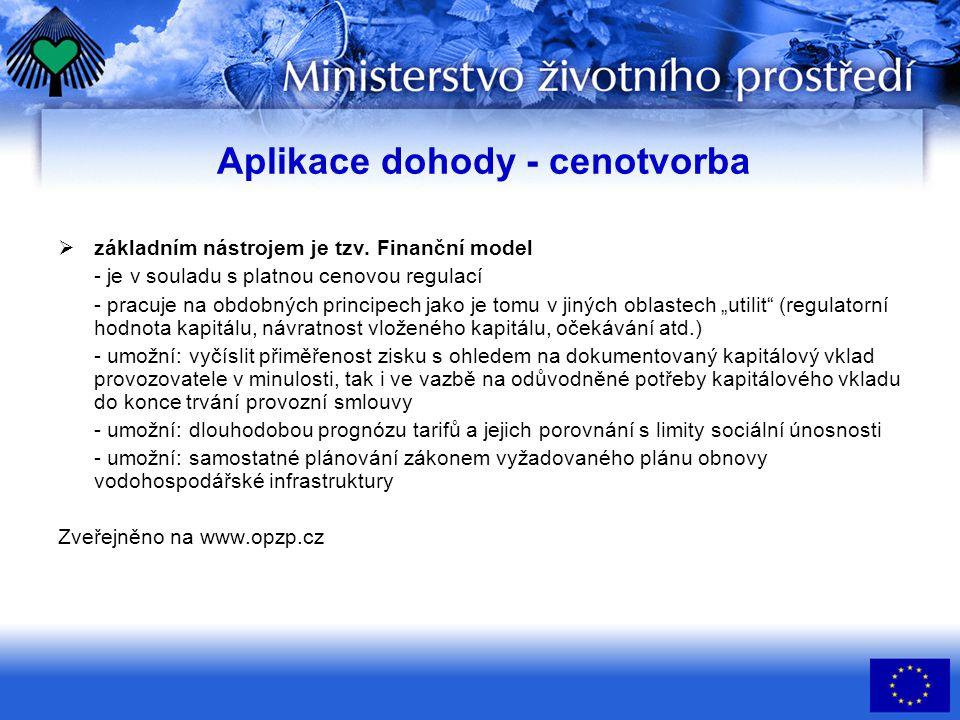 Aplikace dohody - cenotvorba  základním nástrojem je tzv.