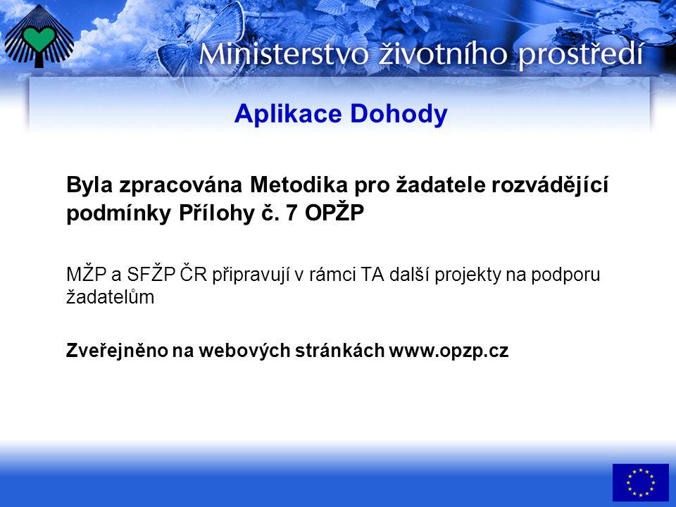 Aplikace Dohody Byla zpracována Metodika pro žadatele rozvádějící podmínky Přílohy č.