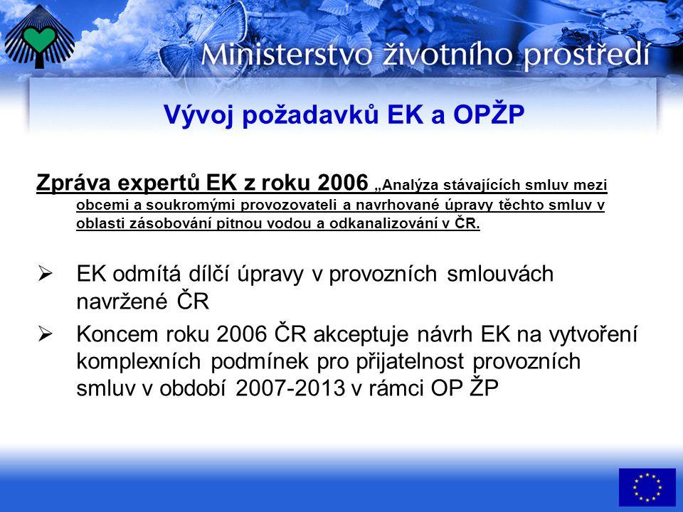 """Vývoj požadavků EK a OPŽP Zpráva expertů EK z roku 2006 """"Analýza stávajících smluv mezi obcemi a soukromými provozovateli a navrhované úpravy těchto smluv v oblasti zásobování pitnou vodou a odkanalizování v ČR."""