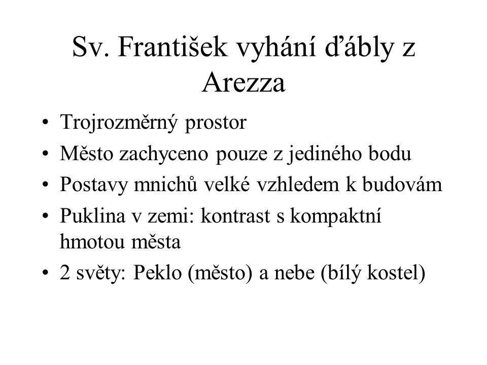 Sv. František vyhání ďábly z Arezza Trojrozměrný prostor Město zachyceno pouze z jediného bodu Postavy mnichů velké vzhledem k budovám Puklina v zemi: