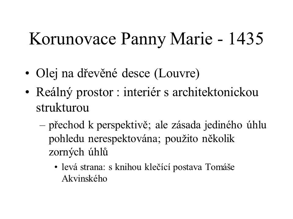 Korunovace Panny Marie - 1435 Olej na dřevěné desce (Louvre) Reálný prostor : interiér s architektonickou strukturou –přechod k perspektivě; ale zásad