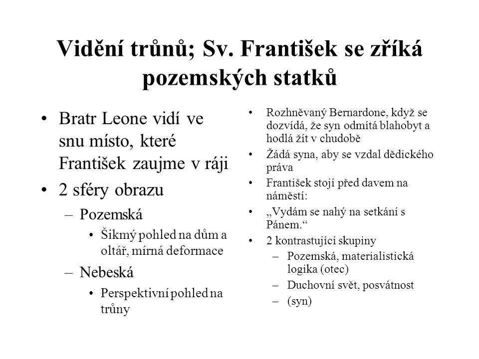 Vidění trůnů; Sv. František se zříká pozemských statků Bratr Leone vidí ve snu místo, které František zaujme v ráji 2 sféry obrazu –Pozemská Šikmý poh