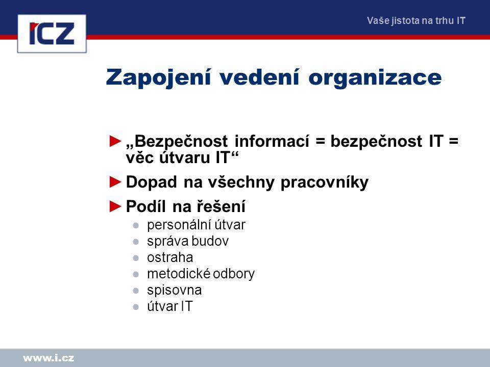 """Vaše jistota na trhu IT www.i.cz Zapojení vedení organizace ►""""Bezpečnost informací = bezpečnost IT = věc útvaru IT"""" ►Dopad na všechny pracovníky ►Podí"""