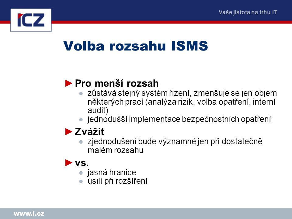 Vaše jistota na trhu IT www.i.cz Volba rozsahu ISMS ►Pro menší rozsah ●zůstává stejný systém řízení, zmenšuje se jen objem některých prací (analýza ri
