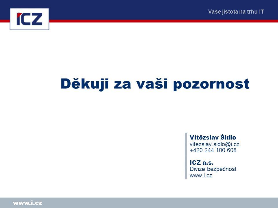 Vaše jistota na trhu IT www.i.cz Děkuji za vaši pozornost Vítězslav Šidlo vitezslav.sidlo@i.cz +420 244 100 608 ICZ a.s. Divize bezpečnost www.i.cz