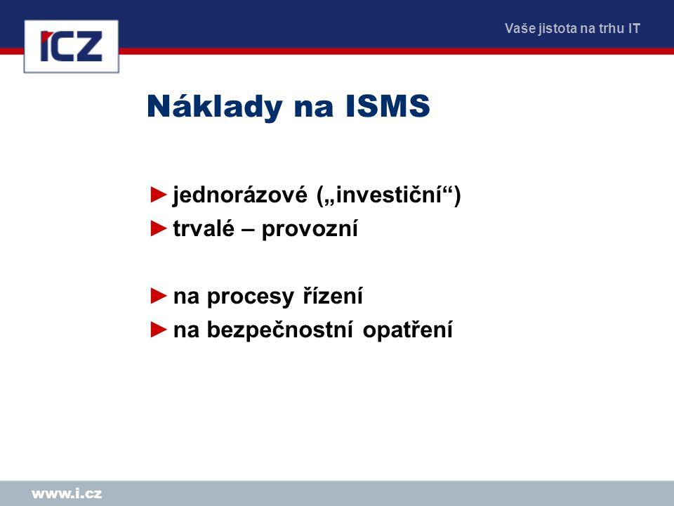 """Vaše jistota na trhu IT www.i.cz Náklady na ISMS ►jednorázové (""""investiční"""") ►trvalé – provozní ►na procesy řízení ►na bezpečnostní opatření"""