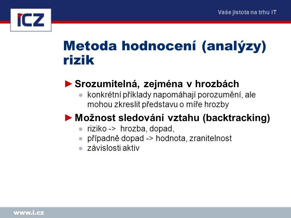 Vaše jistota na trhu IT www.i.cz Metoda hodnocení (analýzy) rizik ►Srozumitelná, zejména v hrozbách ●konkrétní příklady napomáhají porozumění, ale moh
