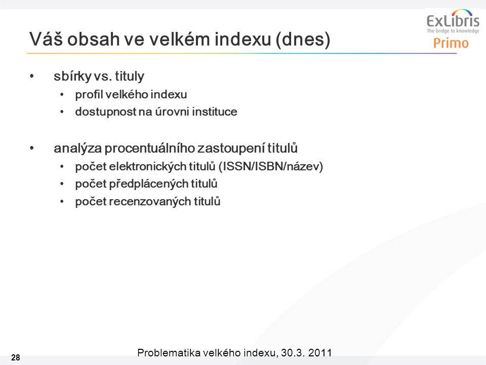 28 Problematika velkého indexu, 30.3. 2011 Váš obsah ve velkém indexu (dnes) sbírky vs.