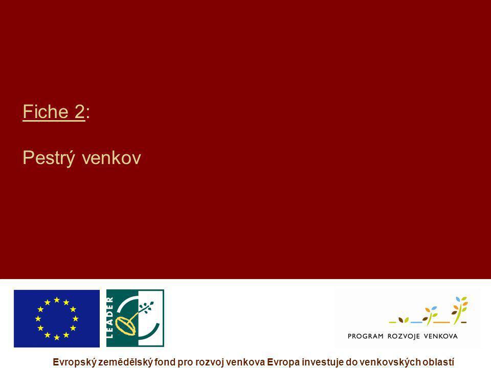 Evropský zemědělský fond pro rozvoj venkova Evropa investuje do venkovských oblastí Fiche 2: Pestrý venkov