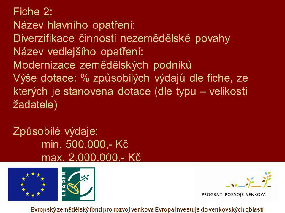 Evropský zemědělský fond pro rozvoj venkova Evropa investuje do venkovských oblastí Fiche 2: Název hlavního opatření: Diverzifikace činností nezeměděl