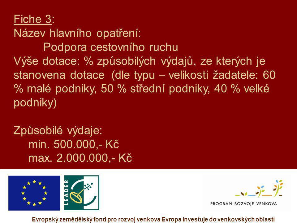 Evropský zemědělský fond pro rozvoj venkova Evropa investuje do venkovských oblastí Fiche 3: Název hlavního opatření: Podpora cestovního ruchu Výše do