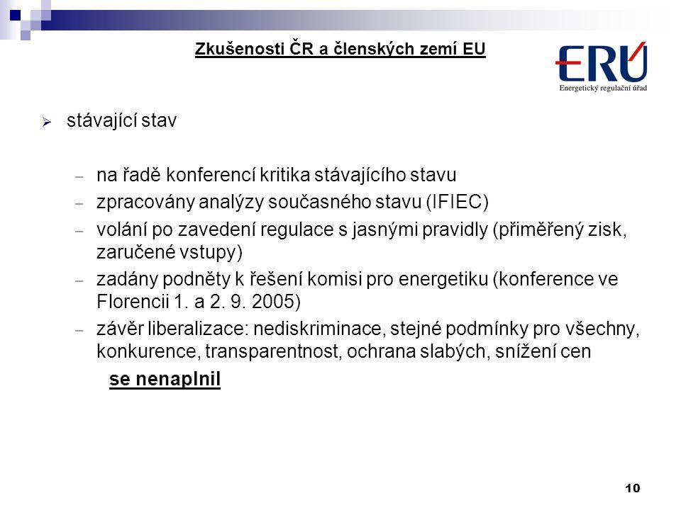 10 Zkušenosti ČR a členských zemí EU  stávající stav – na řadě konferencí kritika stávajícího stavu – zpracovány analýzy současného stavu (IFIEC) – volání po zavedení regulace s jasnými pravidly (přiměřený zisk, zaručené vstupy) – zadány podněty k řešení komisi pro energetiku (konference ve Florencii 1.