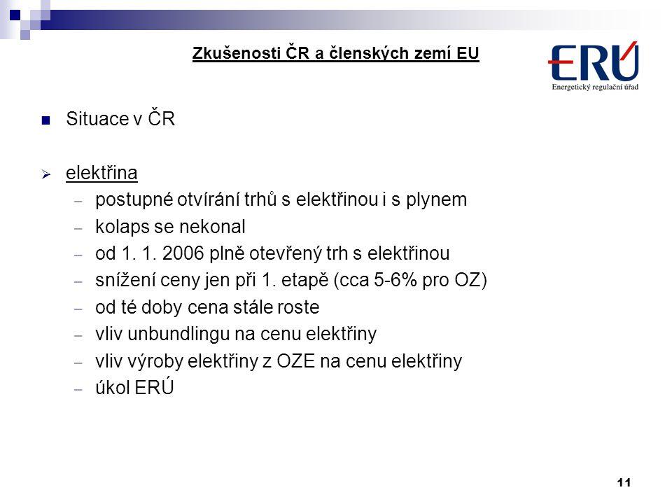 11 Zkušenosti ČR a členských zemí EU Situace v ČR  elektřina – postupné otvírání trhů s elektřinou i s plynem – kolaps se nekonal – od 1. 1. 2006 pln