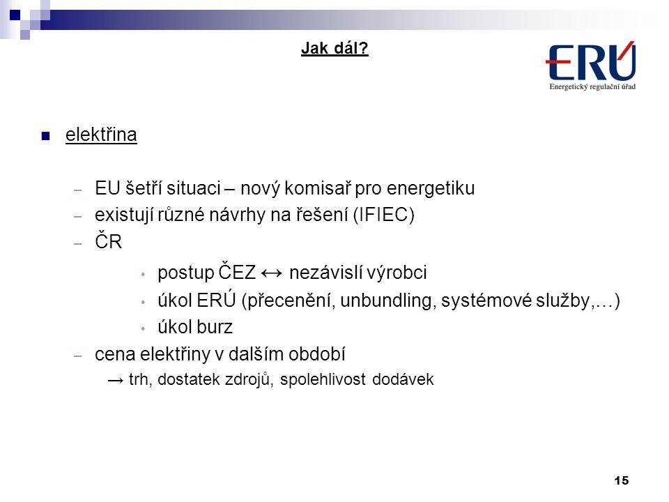 15 Jak dál? elektřina – EU šetří situaci – nový komisař pro energetiku – existují různé návrhy na řešení (IFIEC) – ČR postup ČEZ ↔ nezávislí výrobci ú