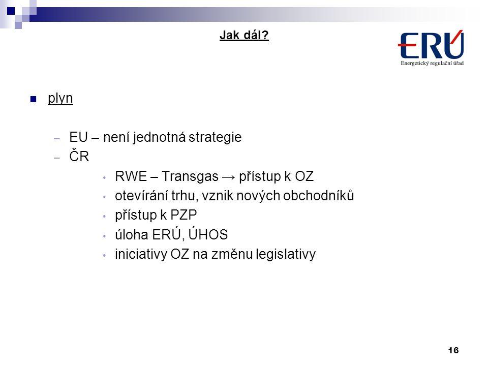 16 Jak dál? plyn – EU – není jednotná strategie – ČR RWE – Transgas → přístup k OZ otevírání trhu, vznik nových obchodníků přístup k PZP úloha ERÚ, ÚH