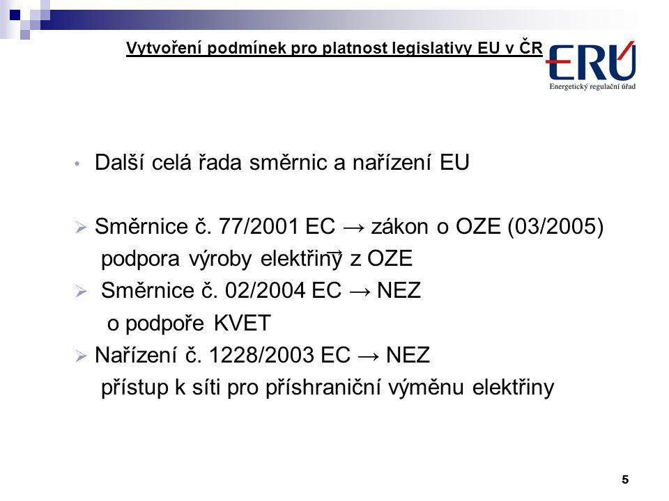 5 Vytvoření podmínek pro platnost legislativy EU v ČR Další celá řada směrnic a nařízení EU  Směrnice č. 77/2001 EC → zákon o OZE (03/2005) podpora v
