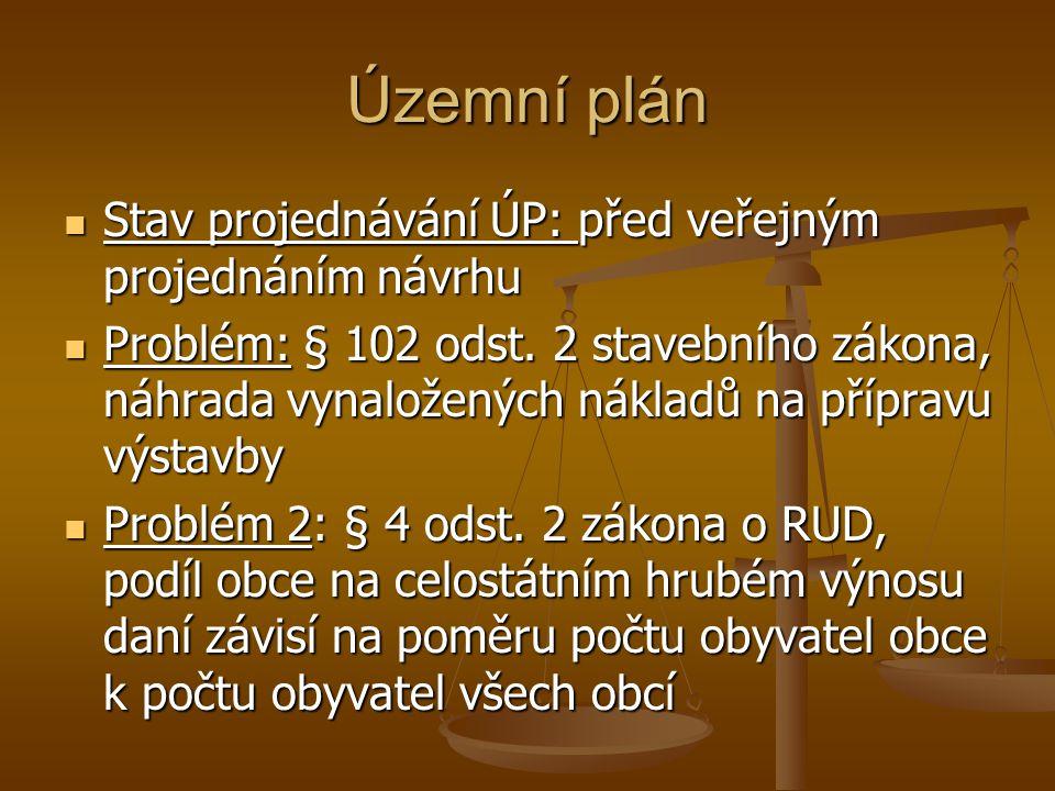 Stav projednávání ÚP: před veřejným projednáním návrhu Stav projednávání ÚP: před veřejným projednáním návrhu Problém: § 102 odst.