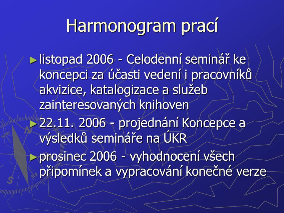 Harmonogram prací ► listopad 2006 - Celodenní seminář ke koncepci za účasti vedení i pracovníků akvizice, katalogizace a služeb zainteresovaných knihoven ► 22.11.