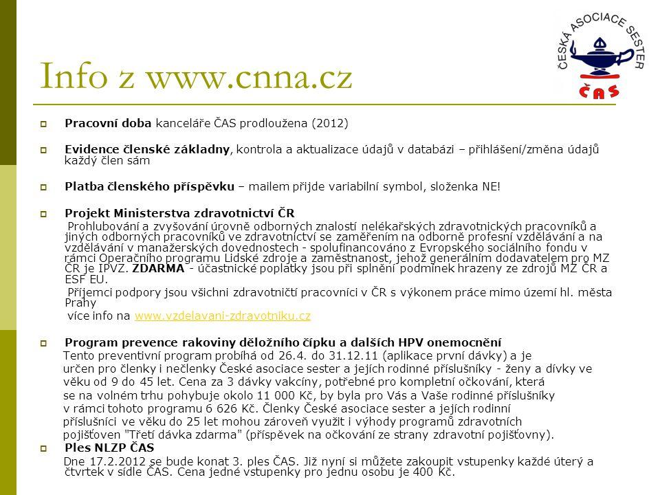 Info z www.cnna.cz  Pracovní doba kanceláře ČAS prodloužena (2012)  Evidence členské základny, kontrola a aktualizace údajů v databázi – přihlášení/