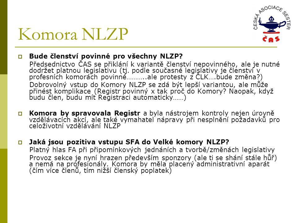 Komora NLZP  Bude členství povinné pro všechny NLZP.
