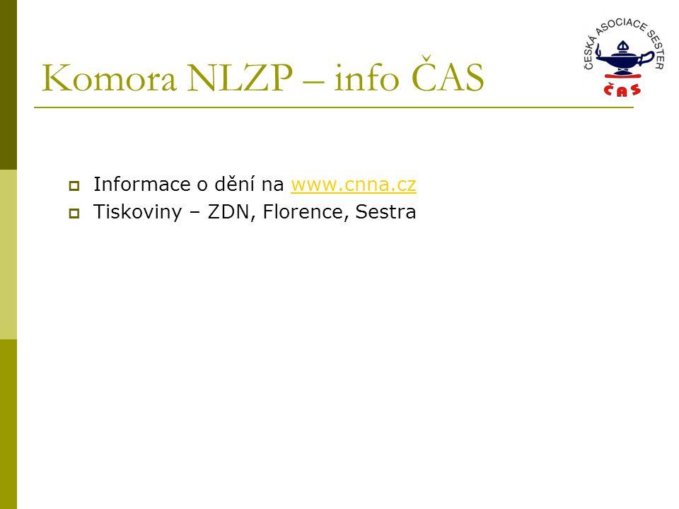 Komora NLZP – info ČAS  Informace o dění na www.cnna.czwww.cnna.cz  Tiskoviny – ZDN, Florence, Sestra