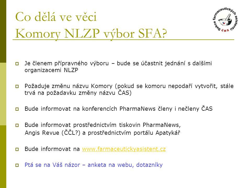 Co dělá ve věci Komory NLZP výbor SFA?  Je členem přípravného výboru – bude se účastnit jednání s dalšími organizacemi NLZP  Požaduje změnu názvu Ko