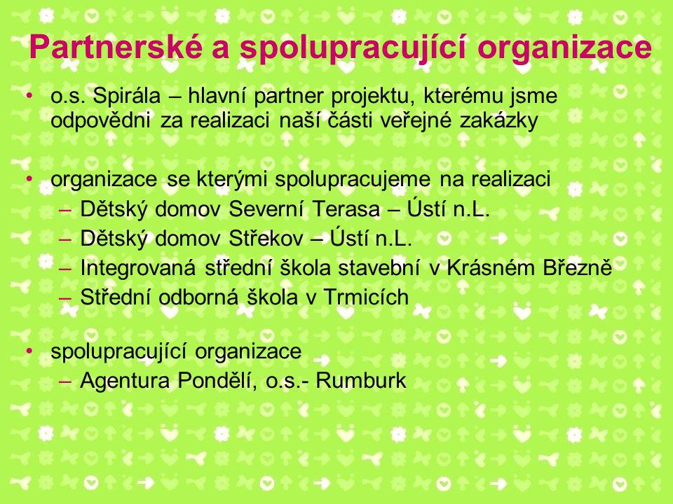 Partnerské a spolupracující organizace o.s. Spirála – hlavní partner projektu, kterému jsme odpovědni za realizaci naší části veřejné zakázky organiza