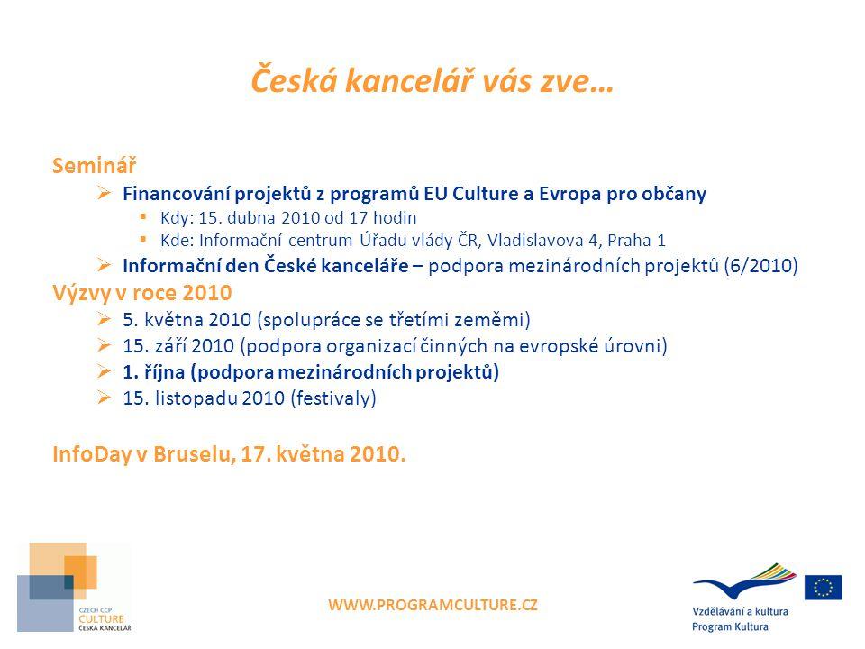 WWW.PROGRAMCULTURE.CZ Česká kancelář vás zve… Seminář  Financování projektů z programů EU Culture a Evropa pro občany  Kdy: 15.