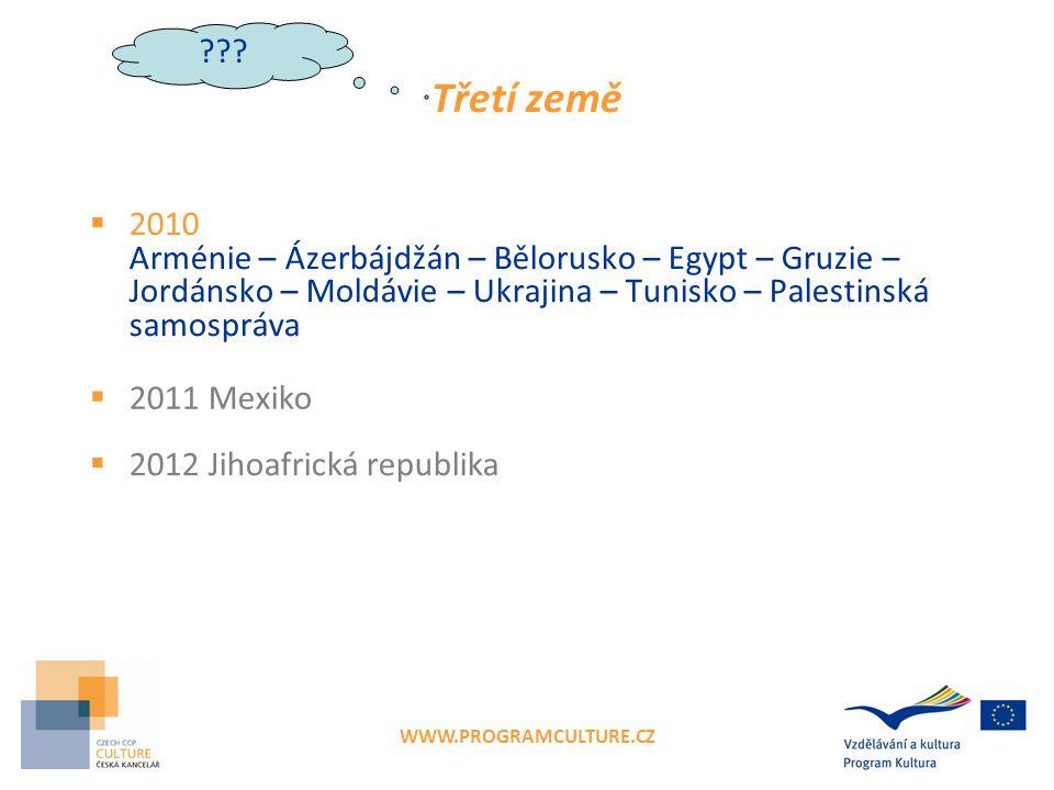 WWW.PROGRAMCULTURE.CZ Třetí země  2010 Arménie – Ázerbájdžán – Bělorusko – Egypt – Gruzie – Jordánsko – Moldávie – Ukrajina – Tunisko – Palestinská samospráva  2011 Mexiko  2012 Jihoafrická republika ???