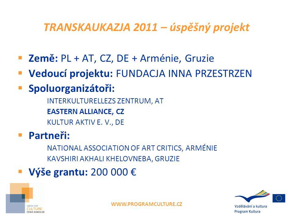 WWW.PROGRAMCULTURE.CZ Základní podmínky projektu  3 evropští partneři ze 3 zemí  Maximálně 24 měsíců  Grant 50 000–200 000 € (max.