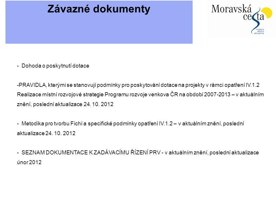 Závazné dokumenty - Dohoda o poskytnutí dotace -PRAVIDLA, kterými se stanovují podmínky pro poskytování dotace na projekty v rámci opatření IV.1.2 Realizace místní rozvojové strategie Programu rozvoje venkova ČR na období 2007-2013 – v aktuálním znění, poslední aktualizace 24.